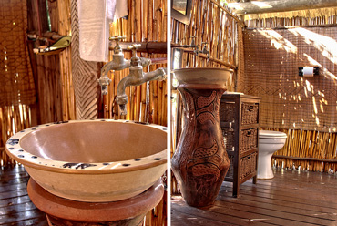 Safari tents bathroom Shindzela Tented Camp Timbavati Game Reserve Bush Camp South Africa